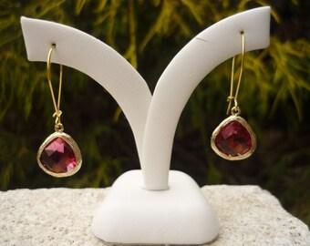 Garnet gold earrings, garnet drop earrings, garnet dangle earrings, January birthstone, January birthstone jewelry, long garnet