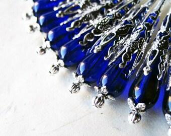 Cobalt Blue Earrings, Blue Teardrop Earrings, Czech Glass Jewelry, Silver Filigree Earring, Royal Blue, Beaded Earrings, Blue and Silver
