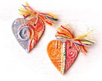 Ceramic heart ornament . Handmade ceramic ornament. Unique ceramic heart. Pottery heart. Pottery ornament