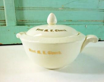 Monogrammed Harker Lidded Sugar Bowl First M E Church
