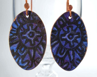 READY to SHIP Blue & Purple Hand Forged Solid Copper Dangle Earrings CPE77