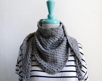 Crocheted Cotton Handkerchief Scarf in Gray