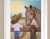 12x18 Print of Little Cowboy with His Horse painting