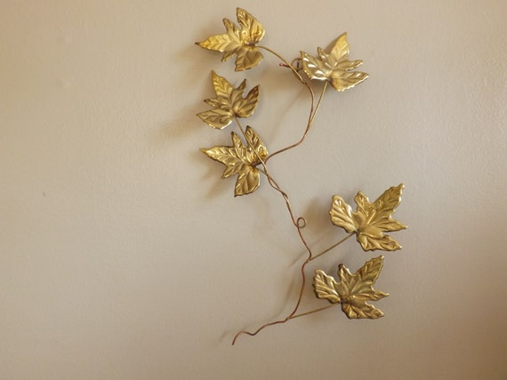 Wall Decor Gold Leaves : Vintage brass wall decor gold leaf vine home