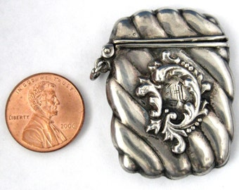 Sterling Silver 1890s Stamp Case Pocket Watch Fob Victorian Edwardian Chatelaine Pendant Initial H