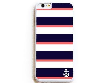 iPhone 6 Case. iPhone 6 Cases. Navy Coral Stripe with Anchor. Phone Case. iPhone Case. Case for iPhone 6. Nautical Phone Case.