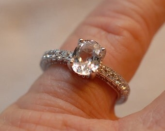 14kt Antique Style Genuine White Sapphire Ring