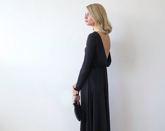 Black maxi open-back formal dress, Maxi gown with long sleeves , Backless black dress