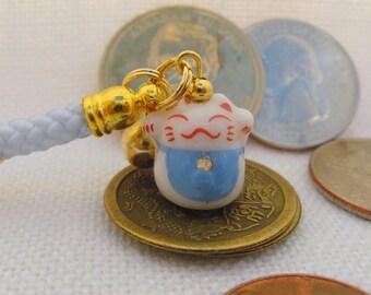 Lucky Cat Maneki Neko Porcelain Phone/Handbag Mini Charm with Blue Braided Strap/Lanyard and Bell. Blue Bib.