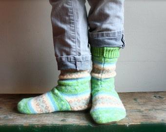 Women's Felted Wool Slippers/Cottage Sock size Women