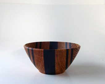 Wood Bowl Segmented Bowl Hand Turned Wood Bowl Walnut Oak Wooden Bowl