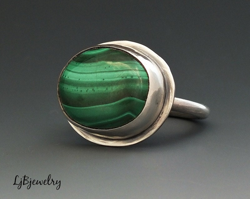 silver ring malachite ring sterling silver malachite by