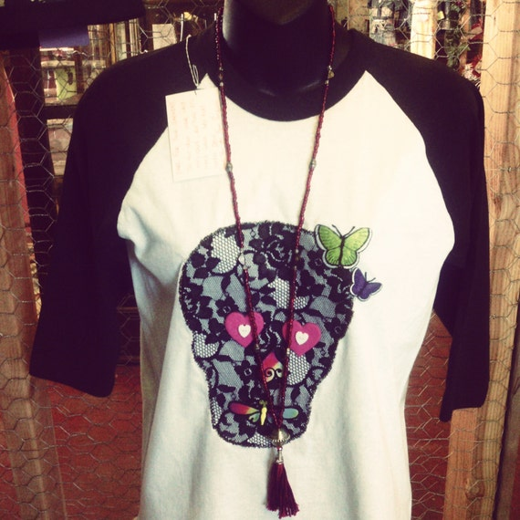 Items similar to Lace Skull applique t-shirt Small ...