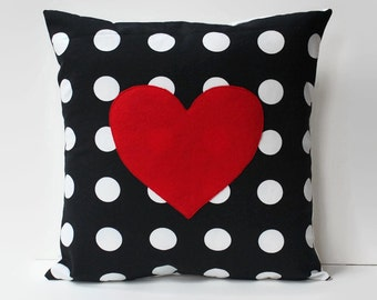 polkadot pillow cover // red heart pillow // heart appliqué pillow // 18X18 pillow // 18 inch pillow // red heart cushion // polkadot decor