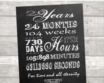 2 year anniversary printable digital: Instant download, minutes, hours, seconds, days, years, lds