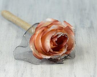 Flower pen, rose guest book pen, wedding flower pen, country guest book pen, woodland wedding reception, forest wedding decor decorations