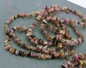 Full 15 inch strand Small Watermelon tourmaline chip beads.