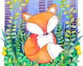 "Fox Print Greeting Card - Whimsical Illustration - 7"" x 5"""