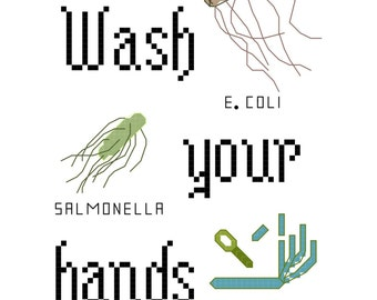 Cross Stitch Patterns -- Wash Your Hands 5x7 (5 versions) and bonus Wash Your Hands patterned for bathroom towel (2 versions)