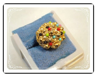 Vintage Floral Ring - Domed Multi Colored Size 7 Adjustable  - R2031a-122512000