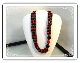 Vintage Avon Necklace - Retro Red & Black Beads   -  Neck-1572a-030513010