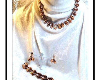 Awesome Copper Parure - Necklace, Earrings & Bracelet Set - Mid Century Modern Geometric Jewelry - Para-2581a-072313035