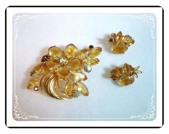 Autumn Gold Demi - Rhinestone Brooch & Earrings Set - Signed  Continental   Demi-1220a-012312000