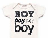 "Screen Printed ""Boy"" Organic Baby Bodysuit/ Newborn/ Baby Shower Gift/ Hip/ Modern/ Black & White/ Birth Announcement/ Typography Fun Words"