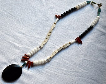 Bold Giant Onyx Drop Necklace with River Stone, Grey Quartz, White Matte Glass, Red Jasper, Black Glass, and Yellow Turquoise