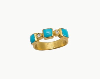 turquoise and diamonds 24 karat gold band ring