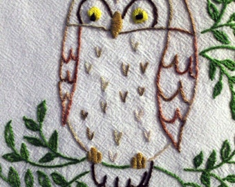 Hand Embroidered Tea Towel Dish Towel ~ Owl