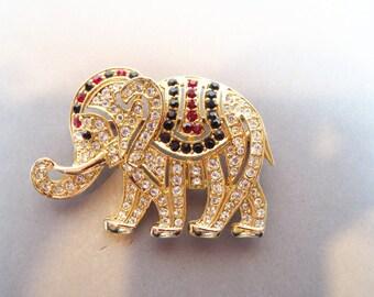 Vintage Elephant Rhinestone Brooch Pin Gold Tone Plus Free US Shipping
