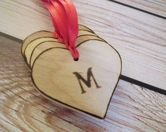 Personalized wooden heart tags with initial of choice, wooden gift tags, wedding favor tags, personalized gift tags, M initial