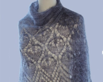 Hand knitted kidsilk Lace shawl  Color:Vintage