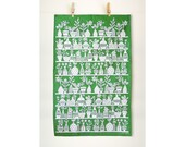Tea Towel - Potted Plants Papercut Illustration - Green and White