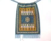 SALE**Fine Micro-Mini-Beaded Drawstring Purse:  Oriental Carpet Pattern in Teal, Ochre, Green & Silver Labeled 'Giuseppe Fabris VENEZIA'