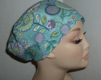 Mod Flowers Teal European OR Scrub hat Surgical