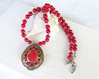 Red Coral Necklace, Afghan Silver,  Statement Necklace Tribal Jewelry,  OOAK Jewelry, Christmas