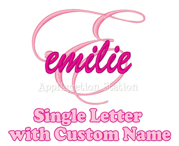 Custom Name Cursive Initial Monogram Any Letter Applique Machine Embroidery Design Download