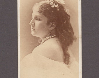 Back View Portrait CDV of a Lovely Young Woman