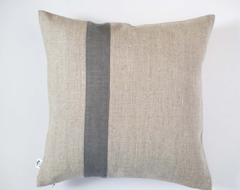 Decorative pillow cover - grey line pillow - Color block pillows Linen cushion case/Natural linen pillow covers in custom size  pillows 0196