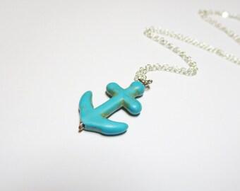 Anchor Necklace -Nautical Necklace -beach Wedding blue Charm Necklace -Anchor Pendant