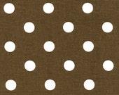 "SALE!! Chocolate Brown and Cream Ivory Polka Dot Home Dec Drapery Fabric Premier Prints 54"""