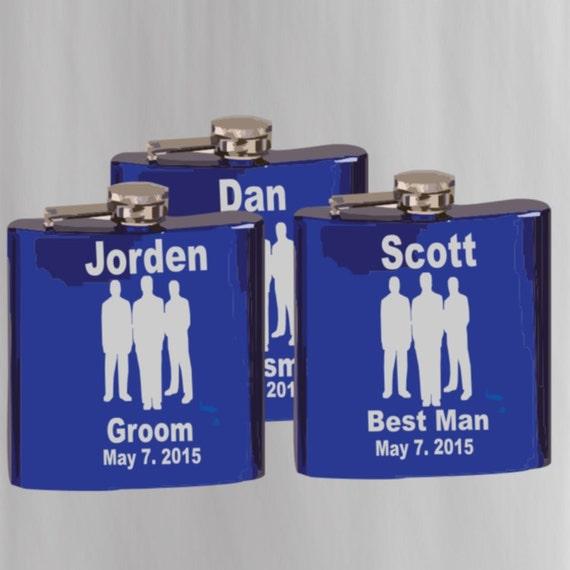 3 groomsman flask, best man flask, weddings. wedding gift and memento, wedding favors, personalized flask, customized flask, grooms flask