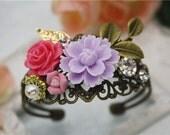 flower filigree vintage bronze crystal bracelet cottage shabby flower pink purple jewellery accessory wedding floral