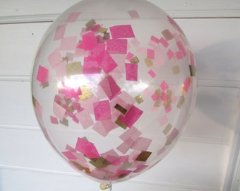 Confetti Balloons, Hot Pink, Light Pink and Gold, Confetti Filled Balloons, 1st Birthday, Photo Prop, Bridal Shower, Baby Shower, Wedding