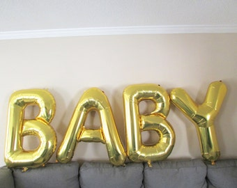 """34"""" Giant Gold BABY Balloons, Giant Balloons, Baby Shower Decoration, Baby Shower Photo Prop, Pregnacy Announcement, Newborn Photo Prop"""