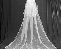 Cathedral wedding veil with blusher, white to ivory, pencil edge 8 feet long, cheap, two tiers with clip
