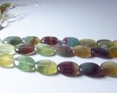 Rainbow Fluorite Oval Beads 15mm