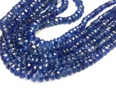 Kyanite  Rondelle Faceted Beads Gemstone Size - 3.5- 5.5MM Approx 14'' Dark Blue   100% Natural